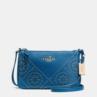 MINI STUDS ZIP TOP CROSSBODY IN PEBBLE LEATHER