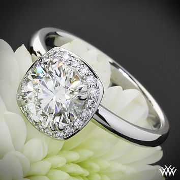 """18k White Gold """"Guinevere"""" Solitaire Engagement Ring"""