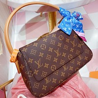 Hipgirls LV New fashion monogram print leather shoulder bag handbag Coffee