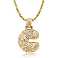 Diamond Created 18K Gold Filled Letter Pendant with Chain - C