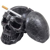 Spooky Human Skull Ashtray with Cover for Scary Halloween Decorations and Decorative Skulls & Skeletons Figurines As Gothic Smoking Room Decor Gifts for Smokers by Home-n-Gifts