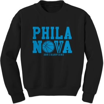 Phila Nova Nation 2018 Basketball Champions Adult Crewneck Sweatshirt