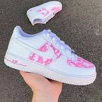 Dior x Nike Air Force 1 Print Sneakers Women Men Trending Shoes White+pink
