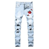 Ripped Jeans with Embroidery Men with Flowers Rose Embroidered Men's Denim Jeans Stretch Skinny Push Size 40 42 Jeans Pants