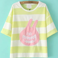 Yellow Monster Patch Striped Short Sleeve T-shirt