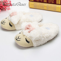 Cute Sheep Animal Cartoon Women Winter Home Slippers For Indoor Bedroom House Warm Cotton Shoes Adult Plush Flats Christmas Gift