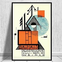 Posters and Prints Bauhaus Ausstellung 1923 Weimer Exhibition Poster Wall Art Picture Canvas Painting for Room Home Decor