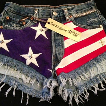 Levis 501 button fly High waist destroyed denim shorts super frayed with American flag and studs size X Small