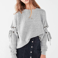 UO Nadine Lace-Up Sleeve Sweater   Urban Outfitters