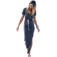 Women Short Sleeve Skinny deep V Neck Back Split Slim Pencil Dresses Modest Formal Elegant Cotton Maxi Bodycon Dress