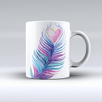 The Watercolor Heart Feather ink-Fuzed Ceramic Coffee Mug