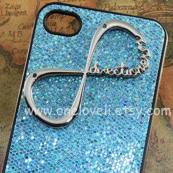 INFINITY--One Direction iphone case, directioner,Harry Styles Deep Blue bling glitter case for iPhone 4 Case, iPhone 4s Case, iPhone 4 Case
