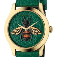 Gucci G-Timeless Leather Strap Watch, 38mm | Nordstrom