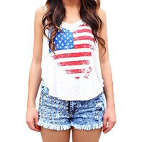 White Heart American Flag Print Sleeveless Tank