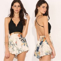 Stylish Lady Women Sexy V-Neck Strap Lace Patchwork Floral Print Backless Casual Club Jumpsuit
