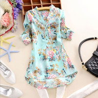 Plus Size M L XL Ladies Elegant Women V Neck Floral Short/Long Sleeve Loose Long Sleeve Top T Shirt Blouse = 1958385284