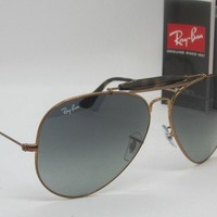 RAY BAN gold/grey gradient RB3029 197/71 OUTDOORSMAN II sunglasses! NEW IN BOX!