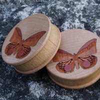 """Beautiful wooden butterfly plugs from Omerica Organic in 38mm, 1-1/2"""". ..."""