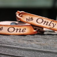 Her ONE and His ONLY Braided Leather  Bracelet Set of 2--Gift Box Included