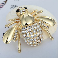 2 Colors Hot Selling Cute Animal Bee Brooches For Women Rhinestone Brooch Pin Crystal Bee Broches Pins Dropshipping