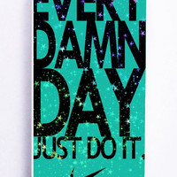 iPhone 5S Case - Rubber TPU Cover with Mint Nike with Space Galaxy Rubber Case Design