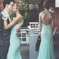 Stunning Dresses for Prom Light Blue Sequins Beaded Party Dresses Fashionable Backless Long Train Mermaid 2014 Evening Dress -in Prom Dresses from Apparel & Accessories on Aliexpress.com | Alibaba Group