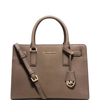 Michael Michael Kors Dillon East-West Saffiano Satchel Bag, Dark Dune LAVELIQ
