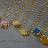 Small Genuine Agate Druzy | Natural Geode | Gold plated Mineral Crystal Gemstone Pendant Necklace