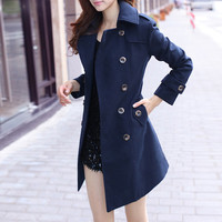 Tailored Navy Blue Wool Coat Double Breast Sheathy Trench Coat Long Jacket Winter Outerwear -WH163 S-XL