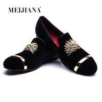 New Fashion Gold Top and Metal Toe Men Velvet Dress shoes