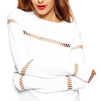 White Long Sleeve Cut-out Top with Back Zipper