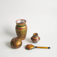Soviet Khokhloma home decor set