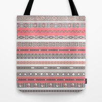 Aztec Print Peach Rose Salmon Grey Tote Bag by RexLambo | Society6