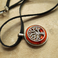 tree of life necklace: orange - mens necklace - celtic jewelry - leather cord - mens jewelry - boyfriend gift - the artisan group