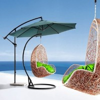 Comfortable Egg-shaped Rattan Outdoor Euro Swing Chair- Green