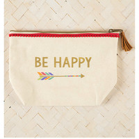 Natural Life Zipper Pouch - Happy