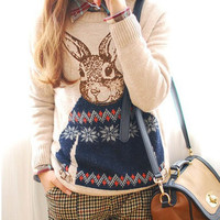 Lovely Rabbit Pattern Knitted Sweater O Neck Vintage Pullover