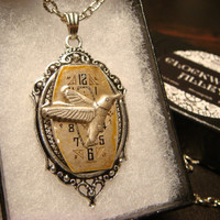 Victoran Style Watch Face with Hummingbird Pendant Necklace  - Upcycled Jewelry  (1849)