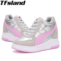 Tfsland New Women Wedge High Heels Shoes Thick Soled High Top Shoes Female PU Leather Walking Shoes Hidden Heel Boots Sneakers