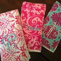 NEW ITEM MONOGRAMMED Girl Burp Cloth Set Damask Boutique Style Name Christmas Baby Shower Gift Personalized