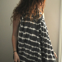 Hand Dyed Striped Rocker Scarf Tie Dye Charcoal by SewRed on Etsy