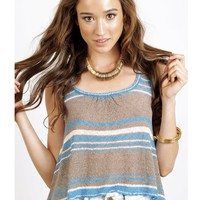Eternal Sunshine Creations Bianca Stripe Short Flare Tank - Turquoise