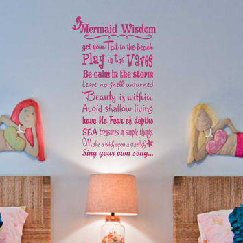 Mermaid Wisdom Rules Decal | Wall Quotes | Vinyl Wall Lettering