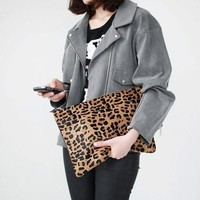 2017 classic leopard pattern women's horsehair messenger bag female day clutch bag small shoulder bag