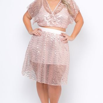 Plus Size Sequins Flared Skirt - Rose Gold