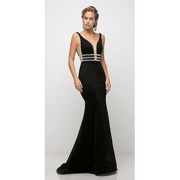 Fitted Stretch Black Gown Beaded Belt Detail Deep Plunging Neckline