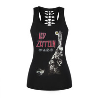 Women Female Tank Top Sexy Black 3D Printed Vest Rock Style Led Zeppelin Camisole Hollow Out O Neck Sleeveless Shirts Tank Tops