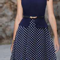 Blue Polka Dot Sleeveless Midi Dress