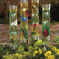 Solar Yard Garden Stakes Large Dragonfly Hummingbird Lawn Decor Path Marker NEW