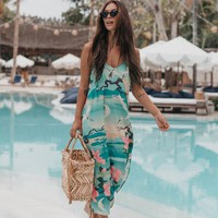 Nightingale Slip Dress Boho Green Floral Print Dresses Women V-Neck Sexy Straps Dress Midi Casual Beach Dresses Vestidos